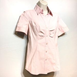 New York & Company Pink Striped Button Up Top